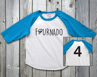 Fournado Four Year Old Boy Shirt, fournado fourth birthday boy, 4th Birthday Shirt, Fourth Birthday Girl Shirt, 4th Birthday Outfit
