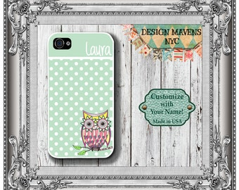 Preppy Owl Polka Dot Monogram iPhone Case, Personalized iPhone Case, iPhone 4, 4s, iPhone 5, 5s, iPhone 5c, iPhone 6, Phone Case,