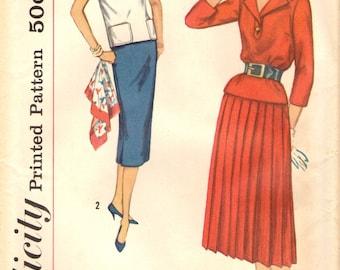 Deux pièces simplicité 2388 Top Slim ou plissé jupe buste 34 VINTAGE 1950 © 1958