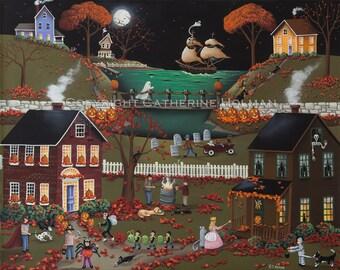 Halloween Folk Art Print Pirate's Cove