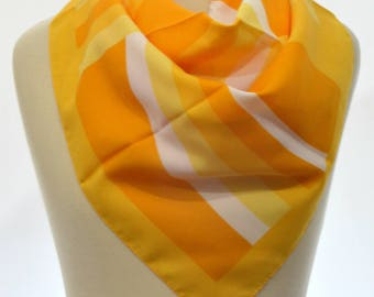 Vintage square scarf: Gold, Mustard Yellow, White, Mod, Geometric, Abstract
