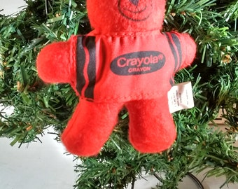 1990 Red Crayola Bear Christmas Tree Ornament ~ plush ornament with label ~ Christmas decor ~ Holiday decor ~ collectible Crayola /Crayons