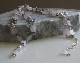 Pretty in Pink Romance Y-Necklace - Pink Glossy Glass Beads, Silver Spacers, Flower Connectors & Sterling Silver Plated Round Beads- Sale