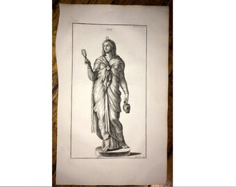 1722 ISIS STATUE original antique egyptian architecture detail engraving - goddess of fertility health marriage and love