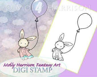 Bunny with Balloons - Digital Stamp - Printable - Rabbit - Molly Harrison Fantasy Art - Digi Stamp Coloring Page - Instant Download