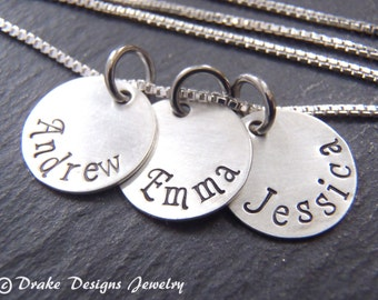 hand stamped custom name necklace. Sterling silver mothers necklace. personalized gift for mom