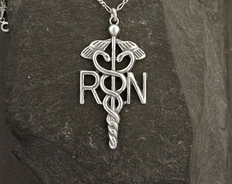 Sterling Silver RN Registered Nurse Pendant on a Sterling Silver Chain