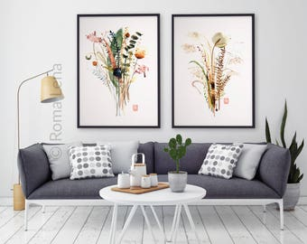 Wtercolor painting Flowers set of 2 prints Wildflowers Herbs Painting floral drawing Wall art for kitchen, living room, farmhouse home decor