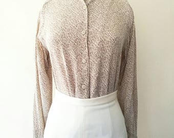 Vintage Oscar de la Renta union made 100% silk beige blouse