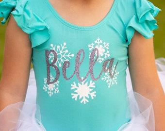 Snow Princess Leotard, Snowflake Birthday Outfit, Toddler Leotards, Dance Leotard, Gymnastics Leotard, Ballet Leotard, Ballerina