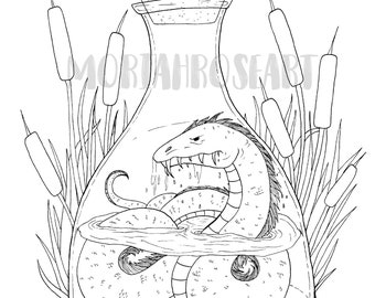 Bottled Sea Serpent Coloring Page | Digital Download | Printable | Adult | Kid | Fantasy | Creature | Mythical |