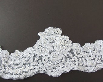 "5.9 Yds. Vintage 5.75"" White Re-Embroidered Alencon Scallops - Pearls and Sequins Trim - Recycled Lace"