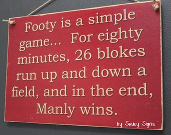 Manly Sea Eagles Simple Game Rugby League Footy Football Sign Bar Pub Man Cave