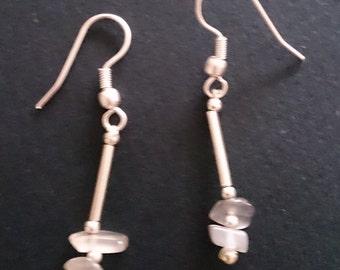 Genuine 925 Silver Moonstone Chip Bead Drop Earrings