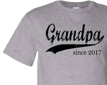 Grandpa since ANY year mens tshirt, grandfather gift, personalized t-shirt, new grandpa shirt, custom tshirt, graphic tee