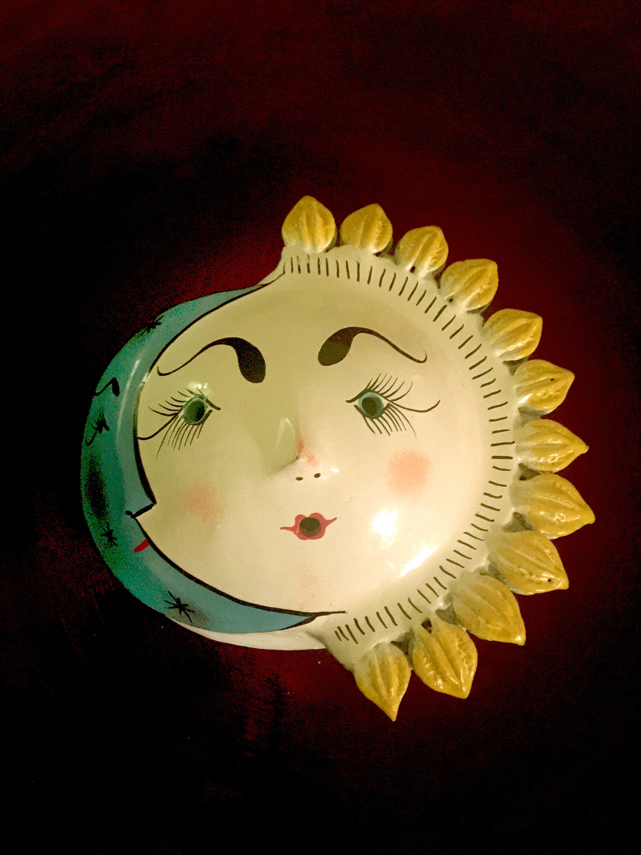 Mexican Handcrafted Ceramic Sun Moon Pottery Folk Art Wall