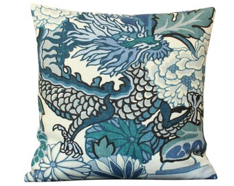 Schumacher Chiang Mai Dragon Pillow Cover in China Blue