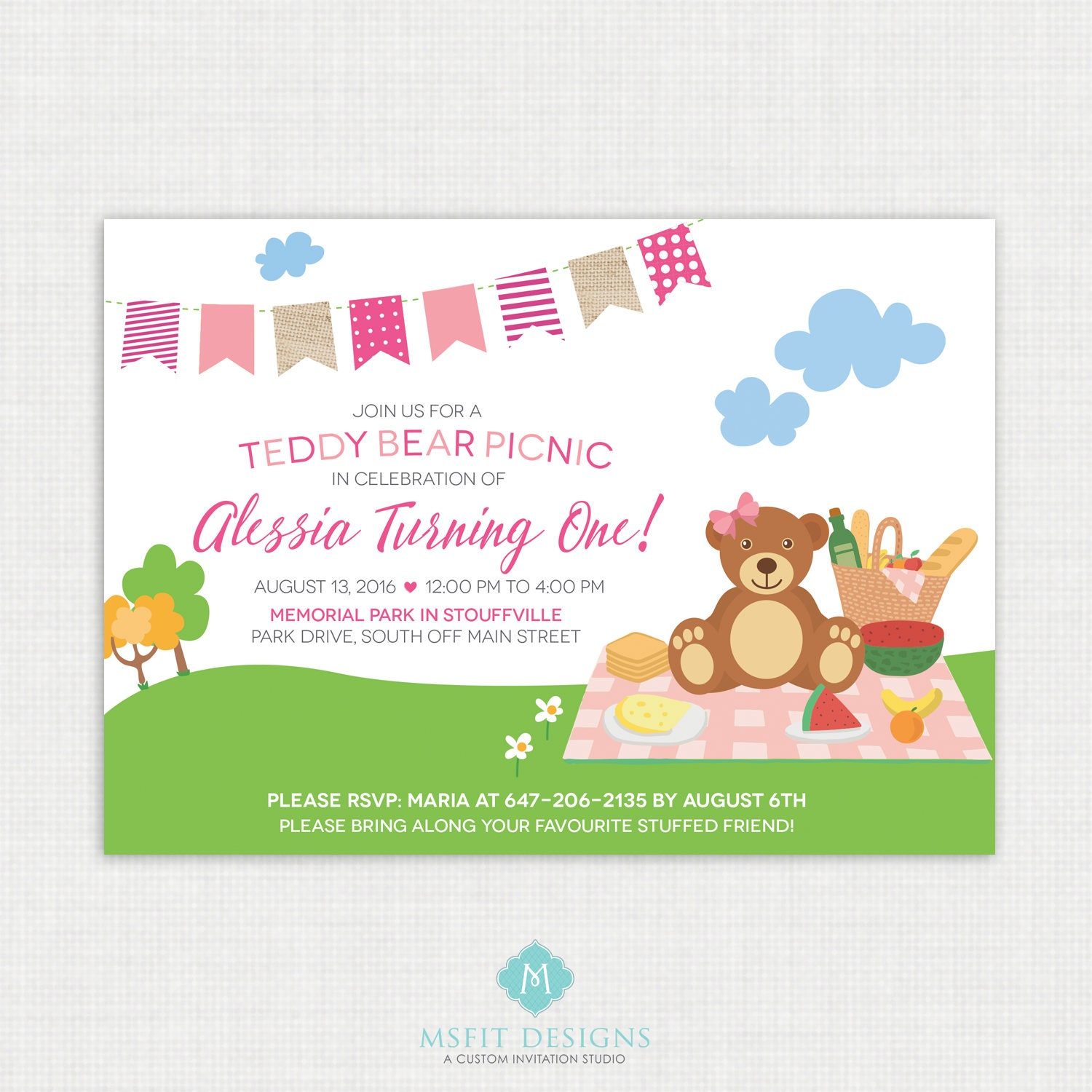 Teddy Bear Invitation Teddy Bear Picnic Invitation Bear Invitation