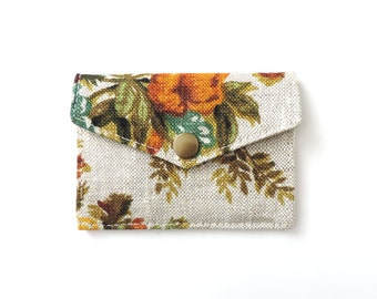 Floral Snap Wallet Minimalist Card Wallet Linen