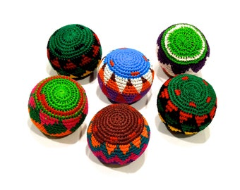 VINTAGE: 1980's - One Guatemalan Crochet Hackey Sack - Stress Ball - Retro Sack - Colorful Ball - New Old Sack - SKU 21-OS-00009063