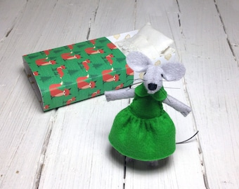 Woodland animals felted mouse miniature animals kids birthday gift felt mouse mouse plush stuffed animal emerald green woodland nursery