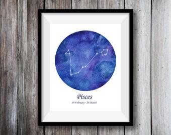Zodiac print - Pisces print - Constellation print - Watercolour Art Print - Pisces Print Art - Galaxy Wall art - Galaxy print