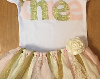 Pale pink and gold birthday scrap fabric tutu outfit