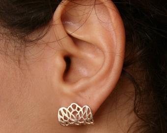 LACE-Sterling Silver Earlobes Earrings,  Lace Earrings, Minimalist Silver Earrings, Hypoallergenic Earrings