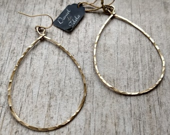 Hammered gold-filled C drop earrings