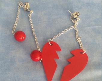 Broken heart and cherry drop earrings