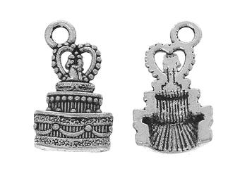 10 Pieces Antique Silver Wedding Cake Charms
