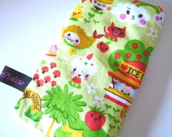 Phone Pouch Cute Asian food-Sushi and Donut House - Green fabric
