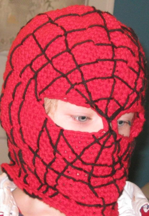 Crochet Pattern Spider Man Mask Balaclava Hood Face Mask Da