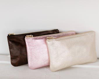 MAE Silver Leather Wallet. Silver Leather Pouch. Metallic Leather Wallet. Small Silver Pouch. Silver Wedding Clutch
