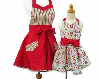 Mother & Daughter Matching Christmas Apron Set, Family Christmas Aprons, Matching Mom Daughter Holiday Aprons, Mommy and Me Christmas Aprons