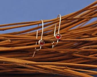 Red Garnet Earrings, Silver Drop Earring, Garnet Jewelry, January Birthday Gift Her Wife, Dainty Simple Earring, Ready to Ship, Garnet Drop