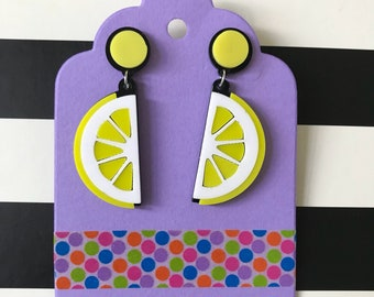 Acrylic lemon earrings