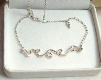 Sterling Artisan Pendant Horizontal Ribbon Style Handmade Artisan Scrollwork Necklace 18 Inches