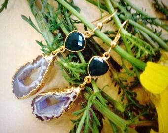 """Bazilian Agate earrings - Drusy Agate slice - OOAK """"Lavender"""""""