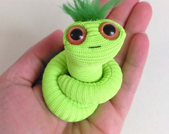 Neon green worm puppet minature creature pocket size