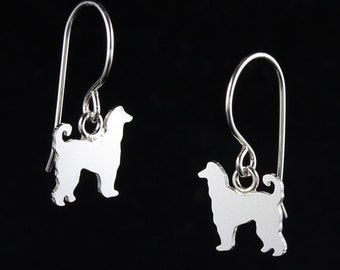 Afghan Hound Sterling Silver Dog Silhouette Sterling Dangle Earrings