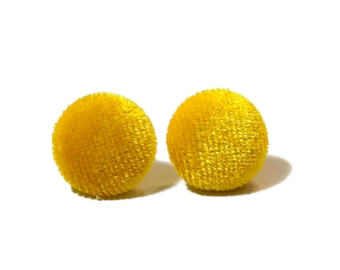 CUTE YELLOW VELVET Earrings, Yellow Studs,  Fabric Studs, Button Earrings, Gift For Her, Mothers Day, Button Earrings, Yellow Velvet #H081