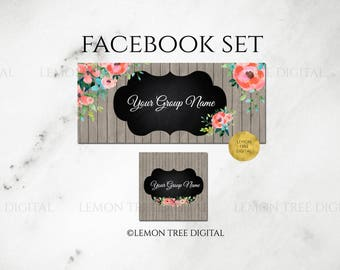 Facebook set, facebook banner, facebook graphics, facebook cover photo, watercolor, wood, rustic, store graphics, floral banner