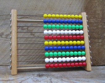 Vintage Abacus Toy Wood Eichhorn Counting Math Activity Educational Wooden Slide Rule Made in Germany