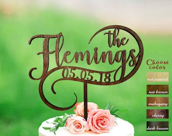 Wedding cake topper, cake toppers for wedding, Surname cake topper, Rustic cake topper, Personalized cake topper, Last name cake, CT#293