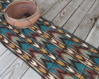 Southwestern table topper, quilted table topper, fabric table topper, handmade table topper, table runner, sideboard runner, 43 inches