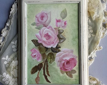 Pink Cabbage Roses Original Still Life Hand Painted Oil Painting Shabby Chic French Farmhouse Cottage Cream Distressed Vintage Frame