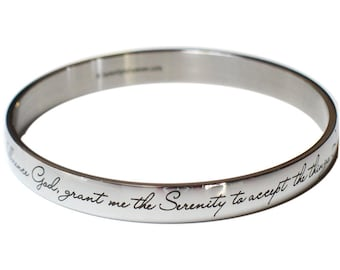 Serenity Prayer Bangle Bracelet   NA Narcotics Anonymous   AA Alcoholics Anonymous   Sober Gift   God Grant Me   Recovery   Anniversary