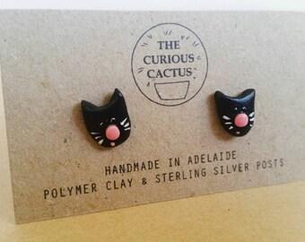 Black Cat Earrings - Handmade Kitten Polymer Clay Sterling Silver Earrings