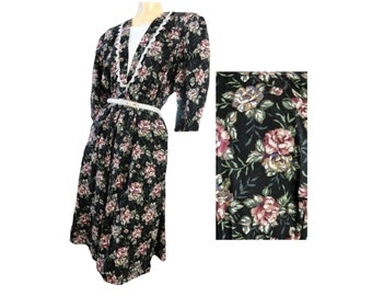 80s Dress Cotton Dress Lace Trim Puffy Sleeves Black Floral Rose Print Size Large